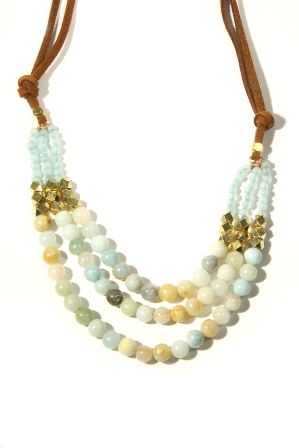 Light Years Collection Amazonite & Suede Necklace - Front Full Image
