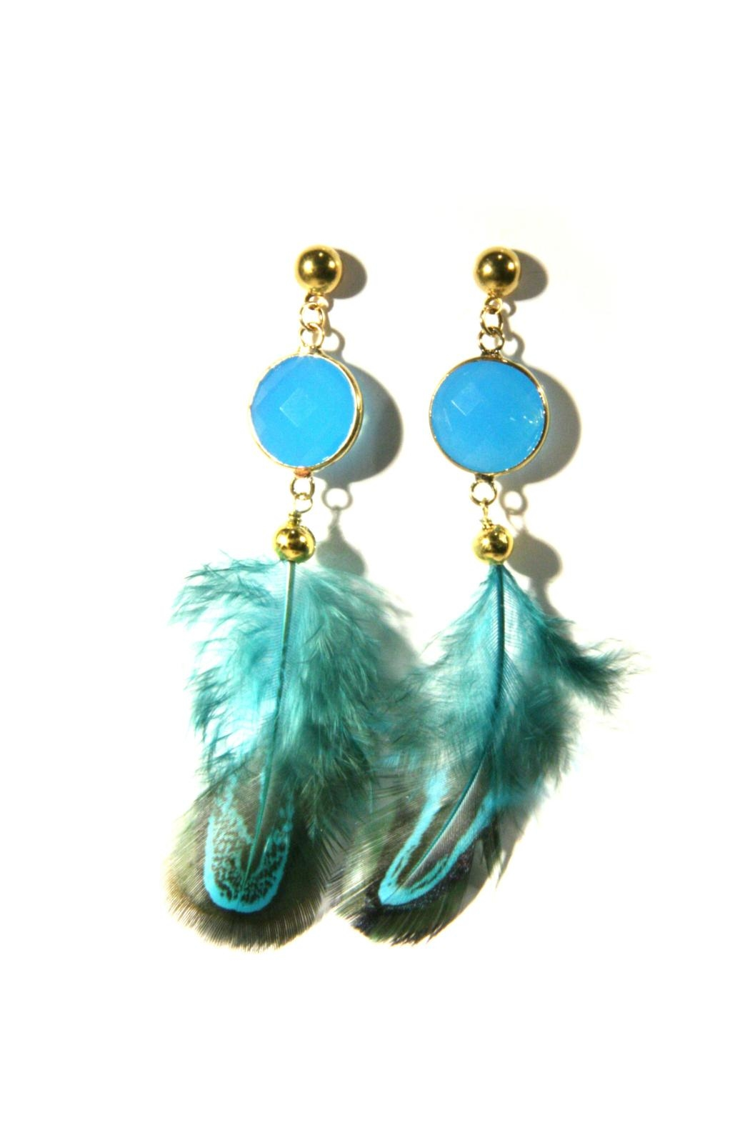 Light Years Collection Blue Feather Earrings - Front Cropped Image