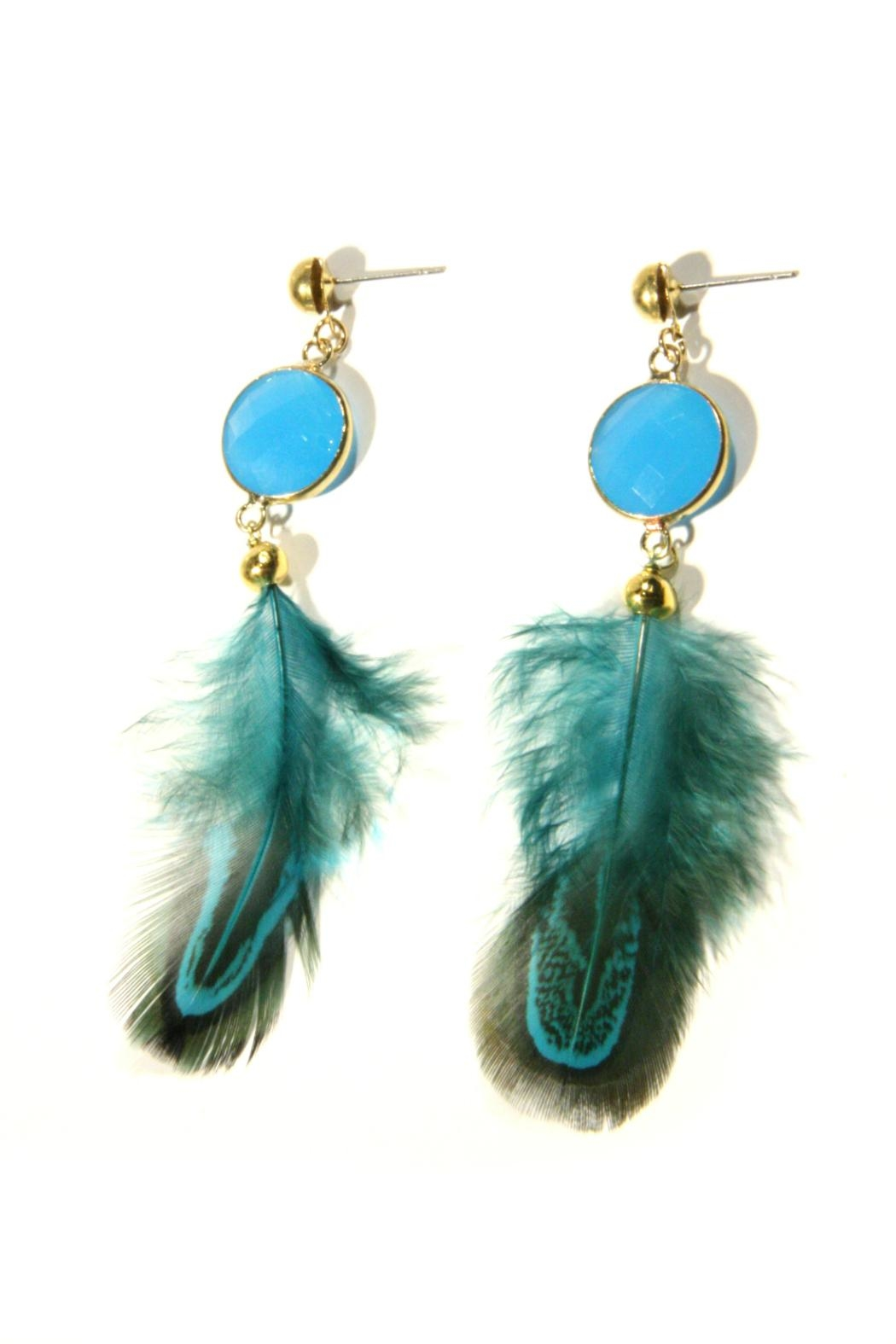 Light Years Collection Blue Feather Earrings - Front Full Image