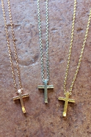 Light Years Collection Brushed Cross Necklace - Front cropped