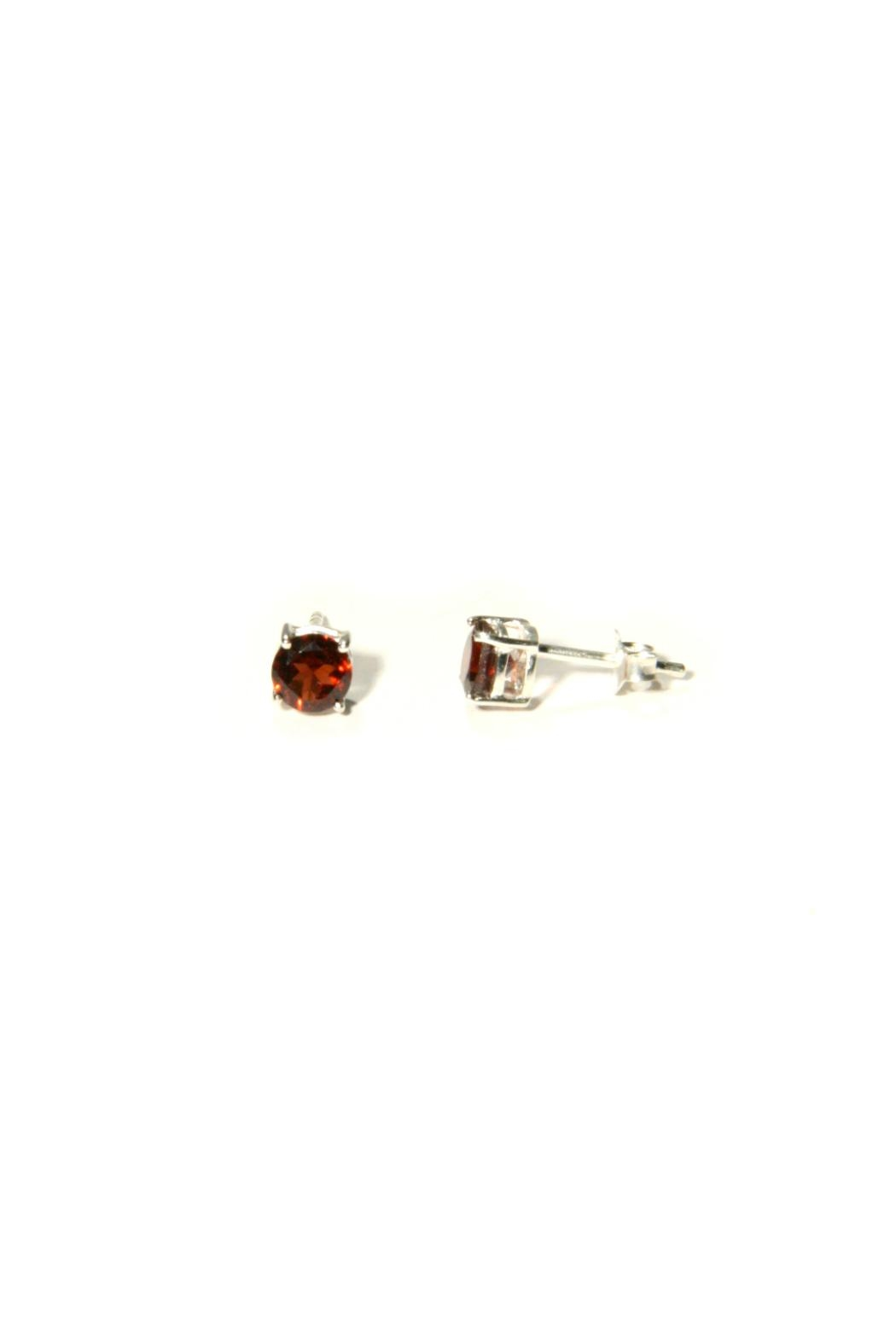 Light Years Collection Faceted Garnet Posts - Front Full Image
