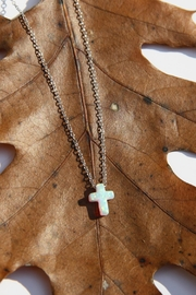 Light Years Collection Opal Cross Necklace - Front cropped