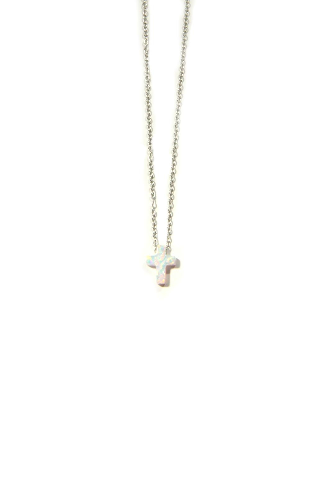 Light Years Collection Opal Cross Necklace - Front Full Image