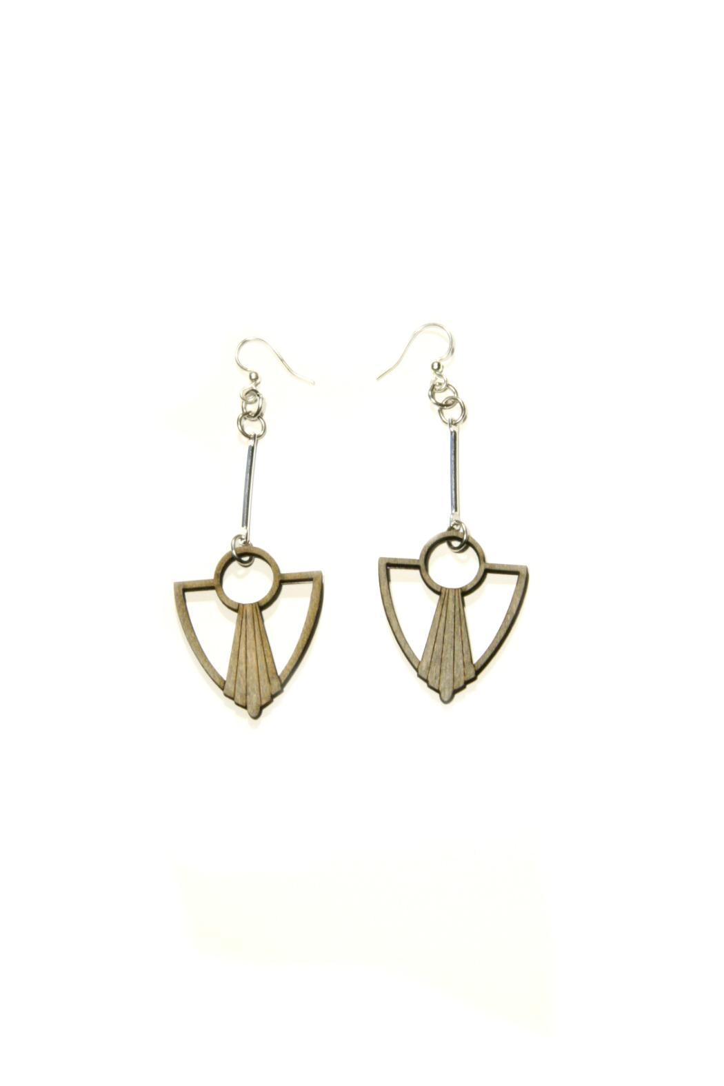 Light Years Collection Wood Shield Dangles - Front Cropped Image