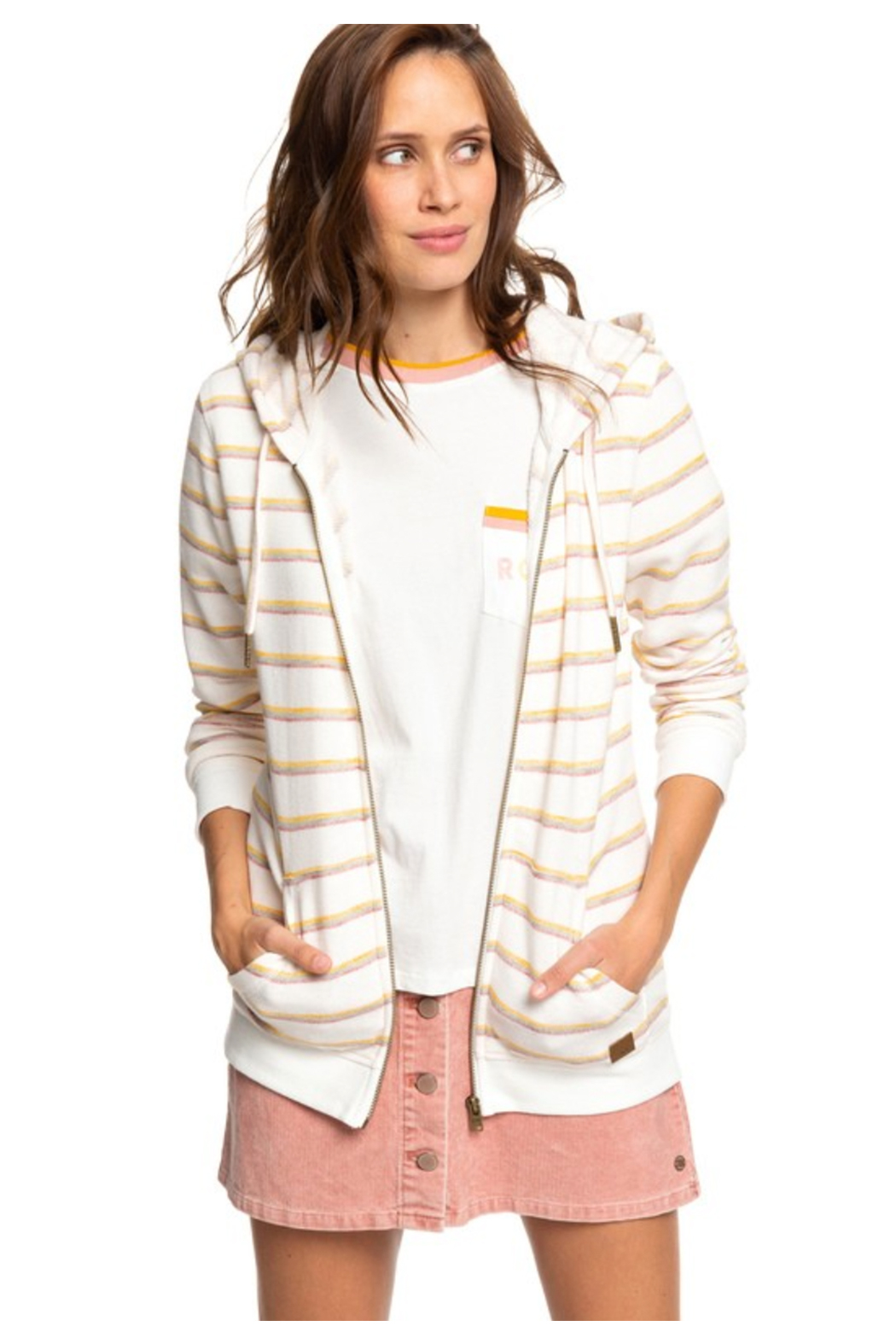 Roxy Lighter Day Zip Up Hoodie - Front Full Image