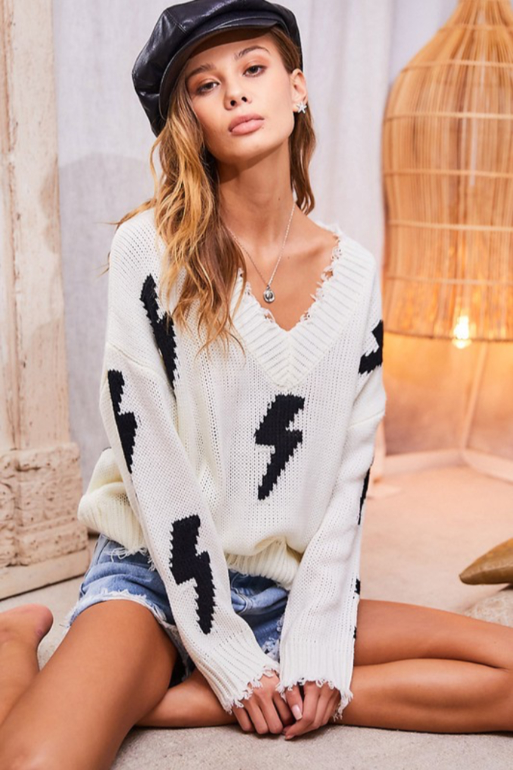 main strip  Lightning Bolt Sweater - Front Cropped Image