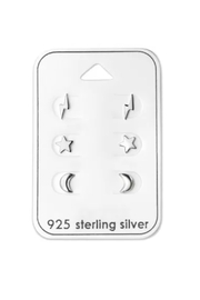 Silver Jewels Lightning Star And Moon Stud Earring Set - Product Mini Image