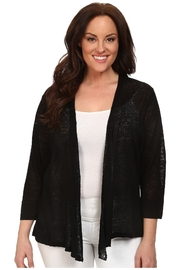 Nic+Zoe lightweight black swing jacket with ribbed & chiffon detailing - Product Mini Image