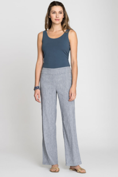 Nic + Zoe Lightweight bluestone mix linen blend pull-on pants. - Product List Image