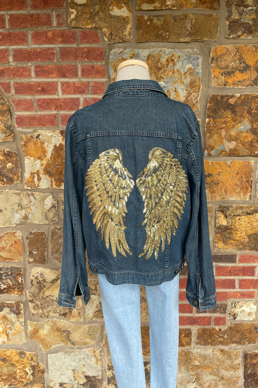 Soulstice Sky Lightweight Denim Jacket w Gold Sequin Angel Wings - Front Cropped Image