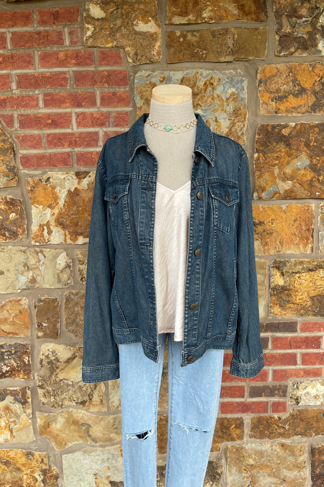 Soulstice Sky Lightweight Denim Jacket w Gold Sequin Angel Wings - Front Full Image