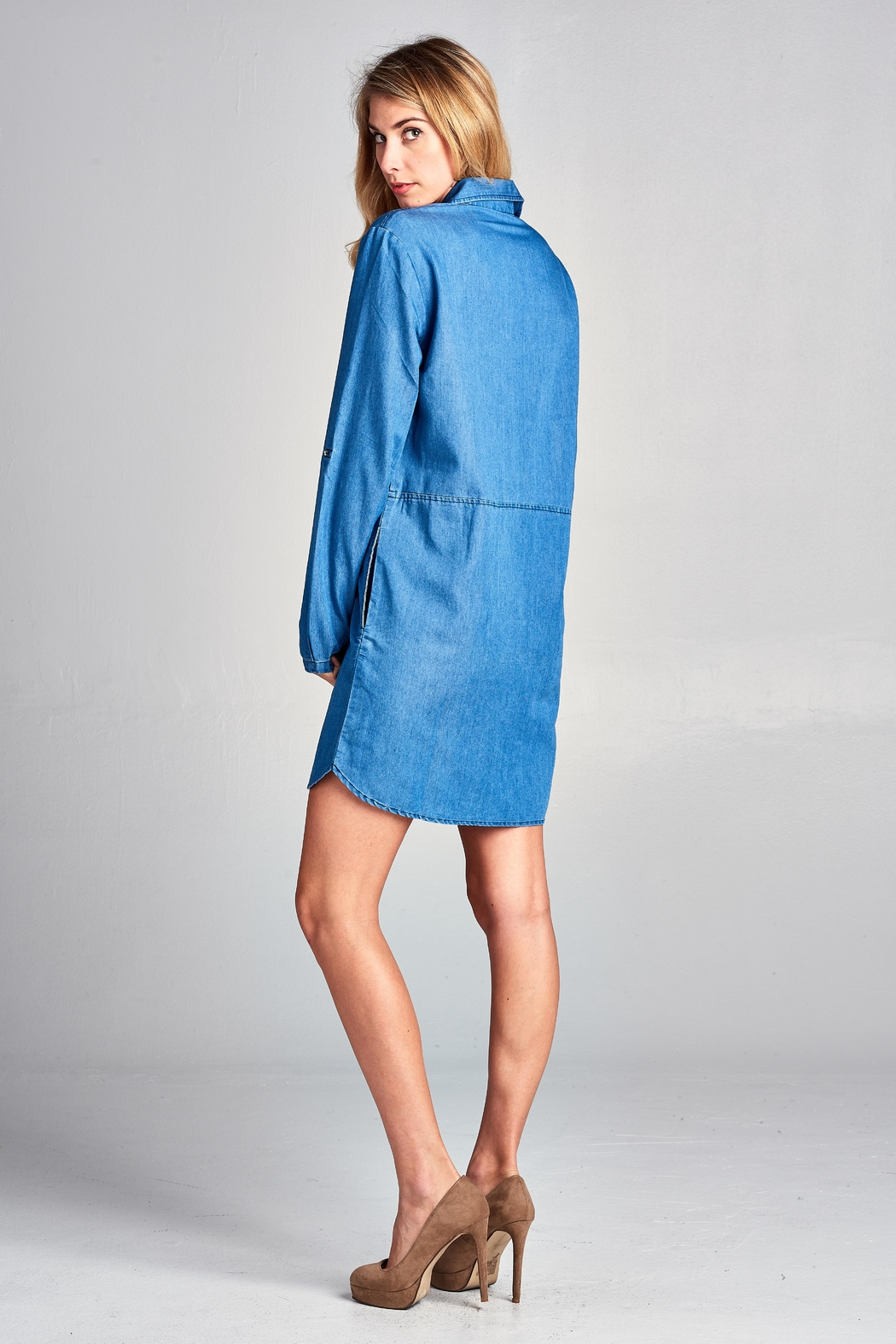 Racine Lightweight Denim Shirtdress - Side Cropped Image