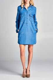 Racine Lightweight Denim Shirtdress - Front cropped