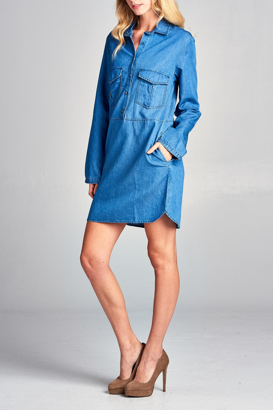 Racine Lightweight Denim Shirtdress - Front Full Image