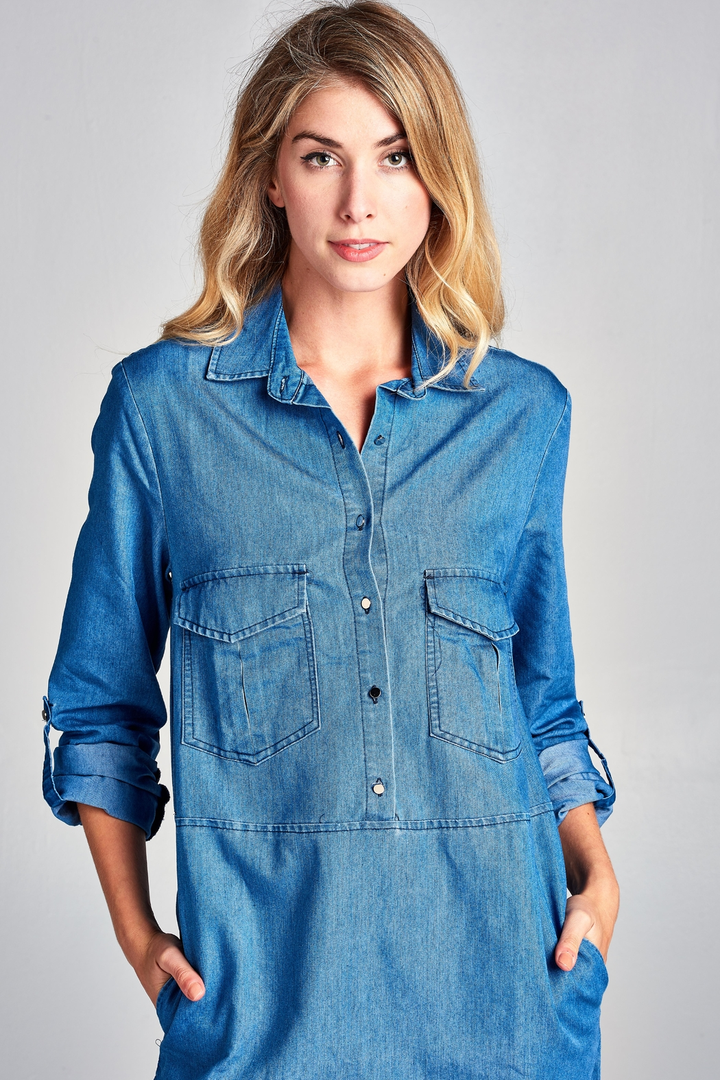 Racine Lightweight Denim Shirtdress - Back Cropped Image