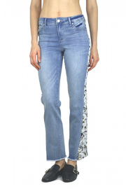 Tractr (New York Poplin) Lightweight Denim with Floral Side Panel - Front full body