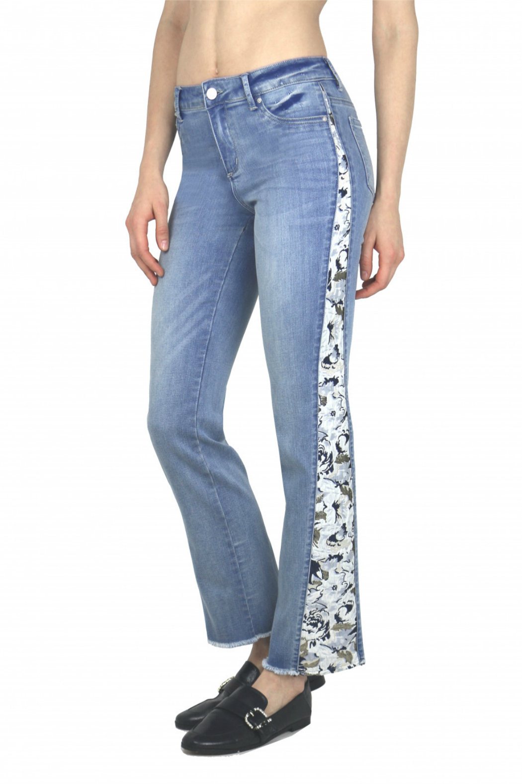 Tractr (New York Poplin) Lightweight Denim with Floral Side Panel - Side Cropped Image