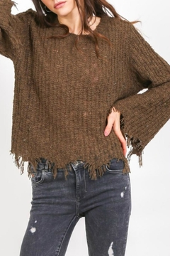 Cozy Casual Lightweight Destroyed-Hem Sweater - Product List Image