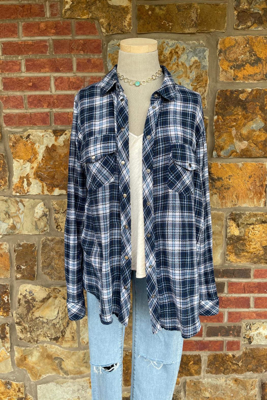 Soulstice Sky Lightweight Flannel w White Lips - Front Full Image