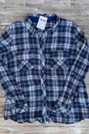 Soulstice Sky Lightweight Flannel w White Lips - Back cropped
