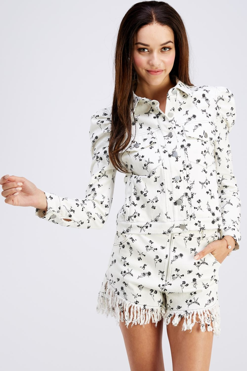 Wild Honey Lightweight Floral Jacket - Front Full Image