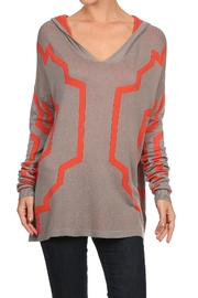 Thml Lightweight hooded Aztec Sweater - Product Mini Image
