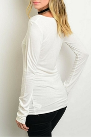 Shop The Trends  Lightweight Ivory Top - Front full body