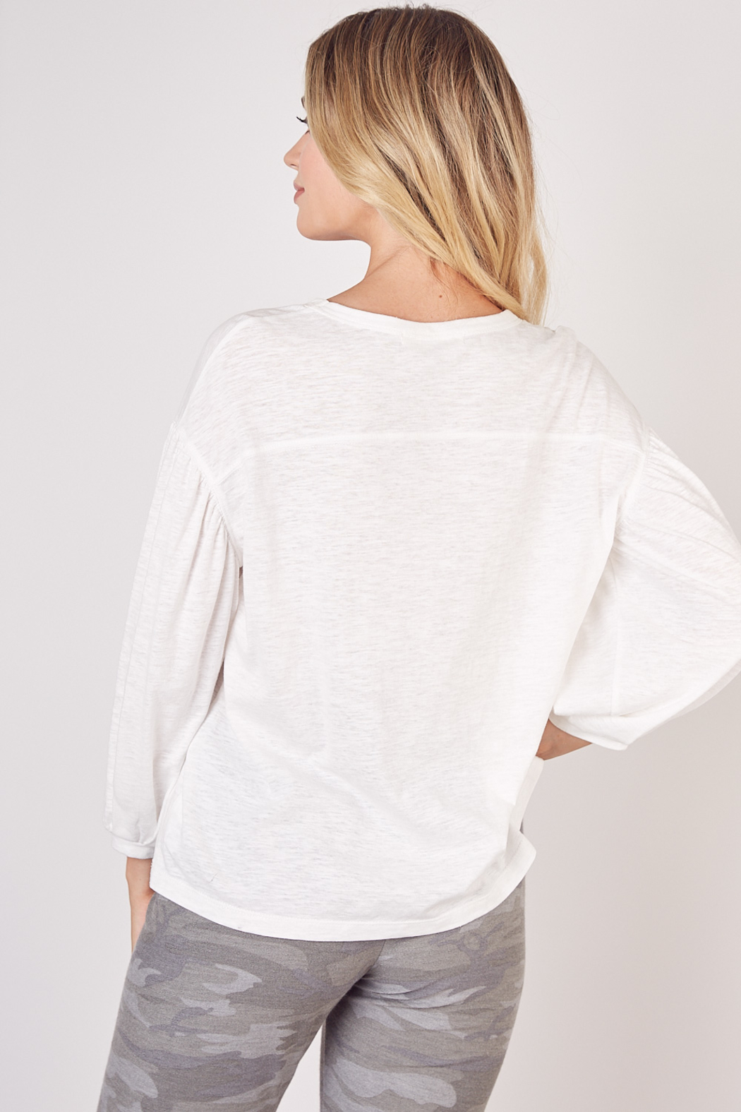 Mustard Seed  Lightweight Long Sleeve Top - Back Cropped Image