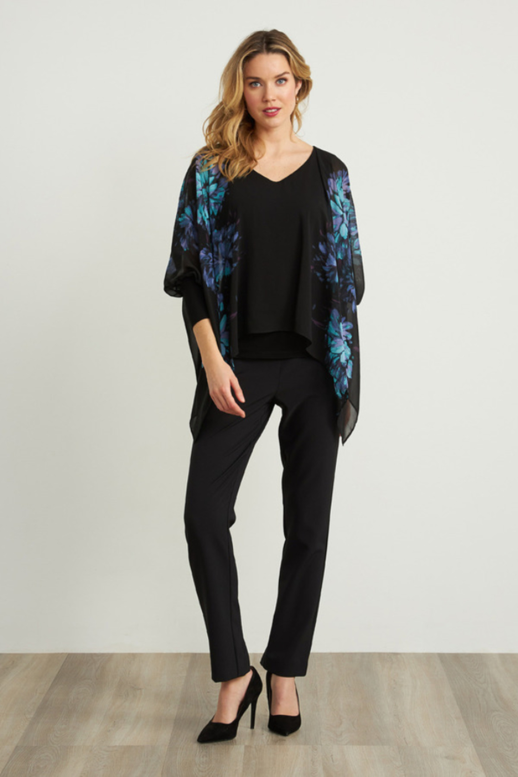 Joseph Ribkoff  Lightweight overlay top with bright floral print - Back Cropped Image