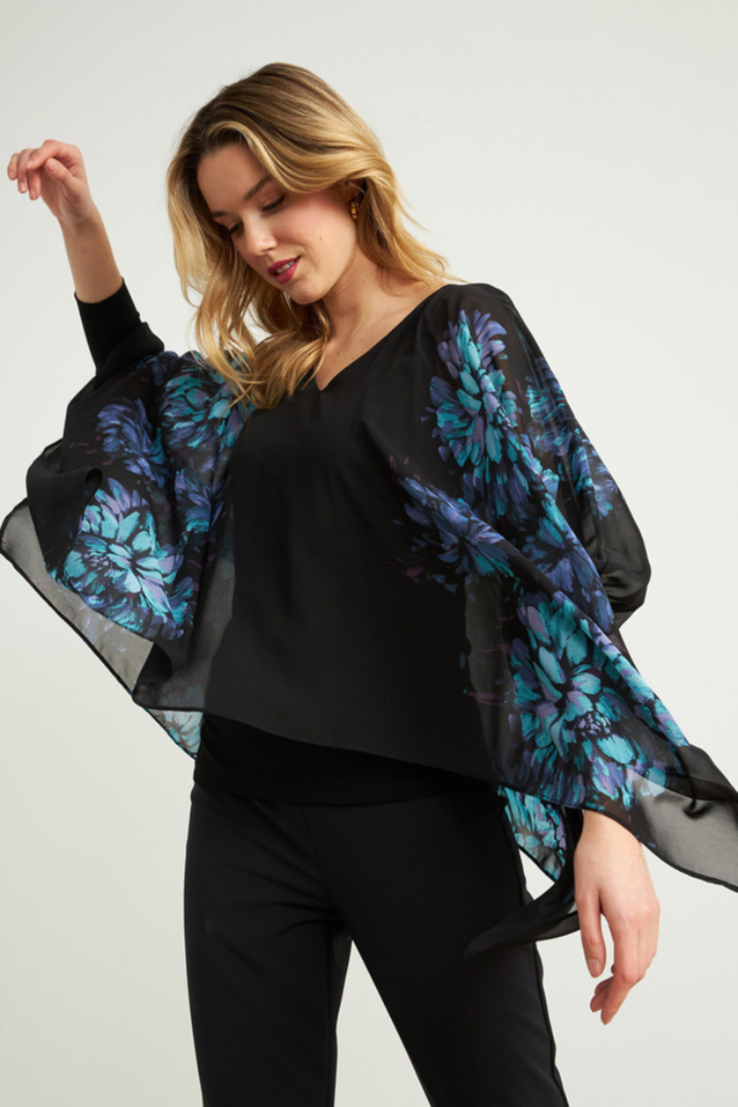 Joseph Ribkoff  Lightweight overlay top with bright floral print - Side Cropped Image