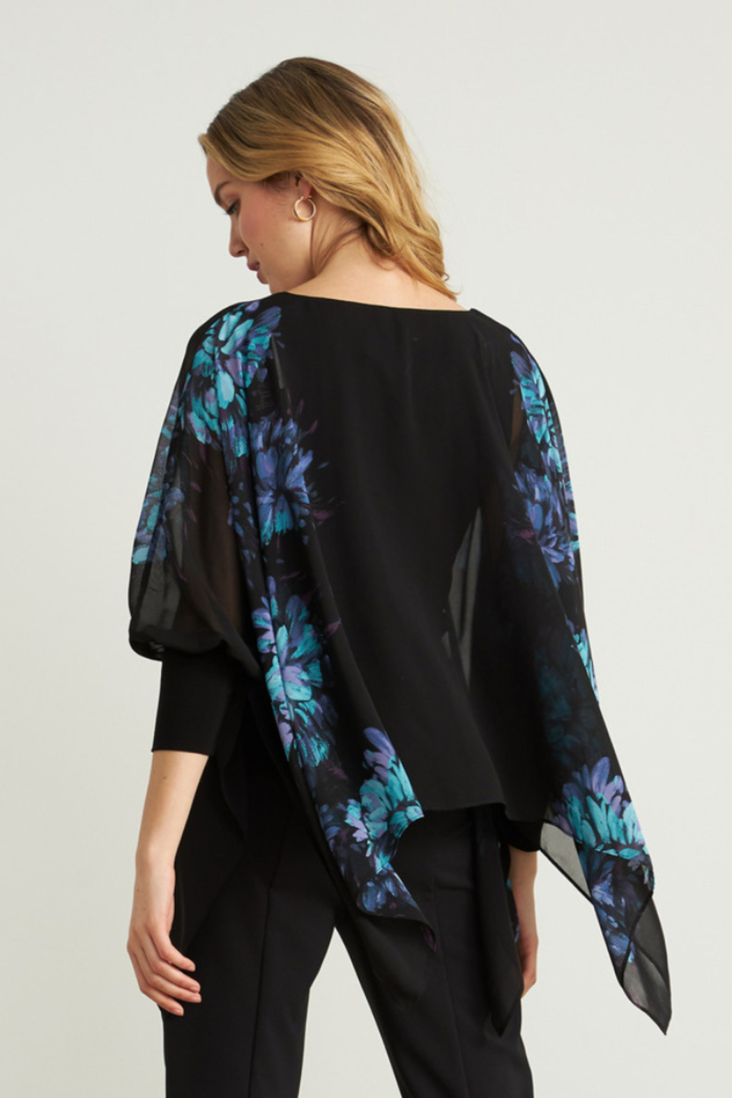 Joseph Ribkoff  Lightweight overlay top with bright floral print - Front Full Image