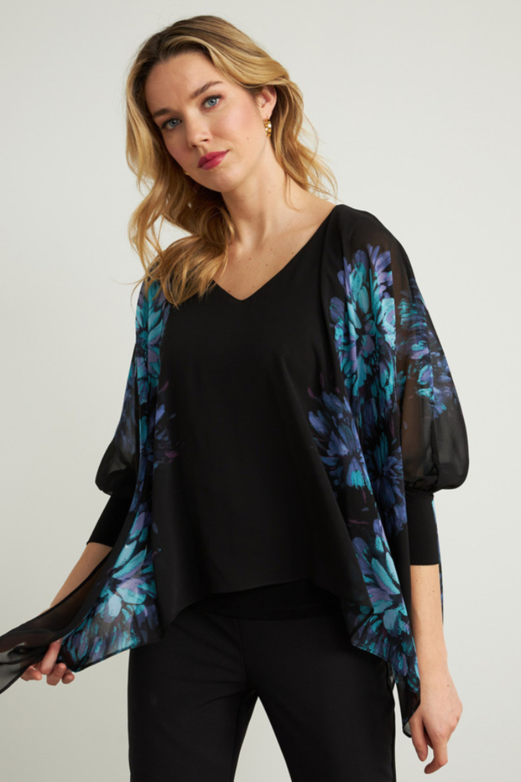 Joseph Ribkoff  Lightweight overlay top with bright floral print - Main Image