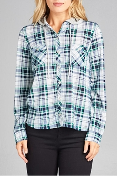 Shoptiques Product: Lightweight Plaid Hoodie