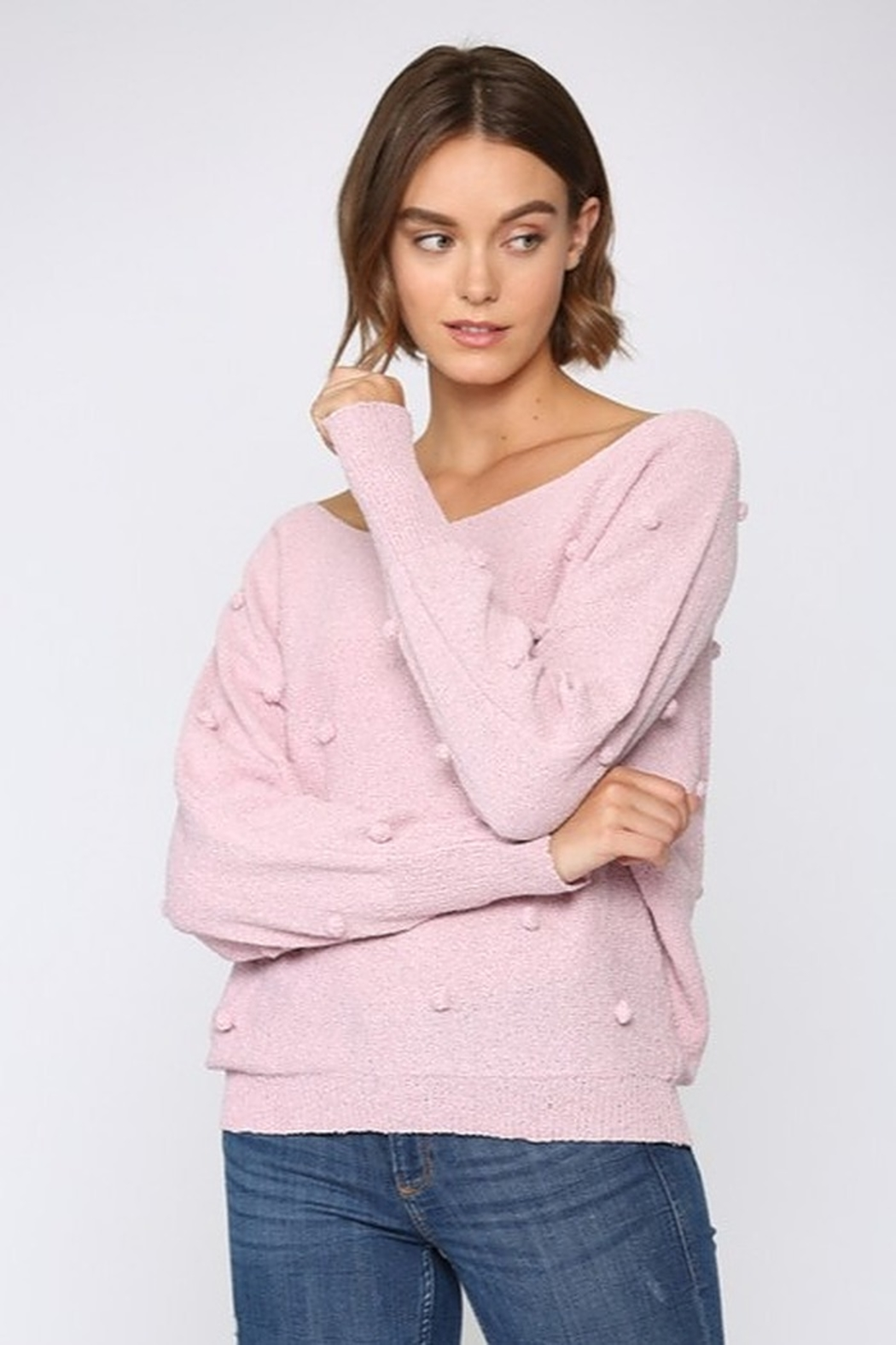 FATE by LFD Lightweight Pom Sweater - Front Cropped Image