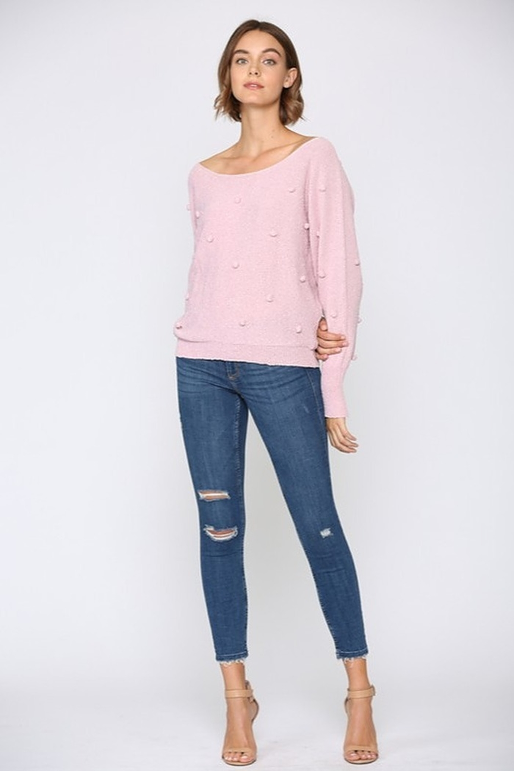 FATE by LFD Lightweight Pom Sweater - Back Cropped Image