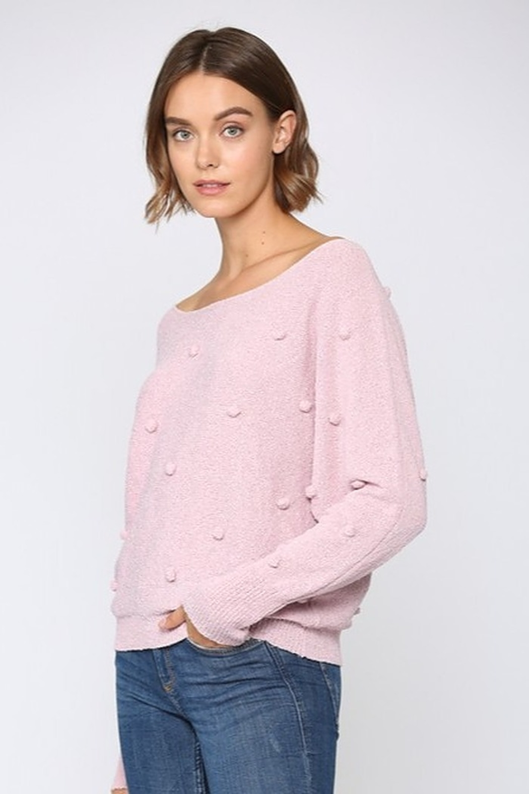 FATE by LFD Lightweight Pom Sweater - Front Full Image