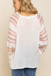 POL  Lightweight Striped Arm Sweater - Front full body