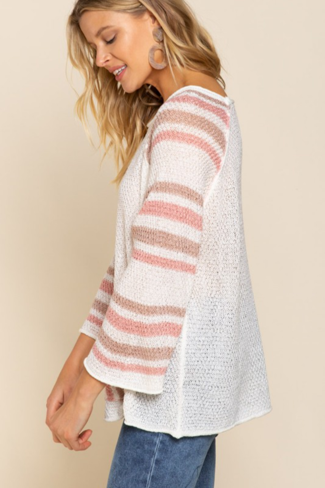 POL  Lightweight Striped Arm Sweater - Side Cropped Image