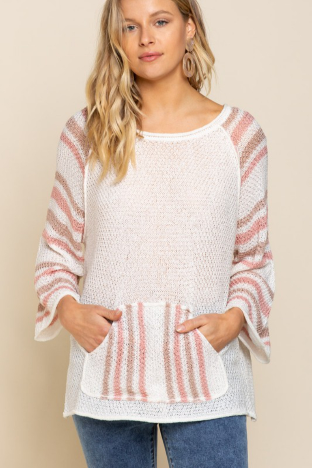 POL  Lightweight Striped Arm Sweater - Front Cropped Image