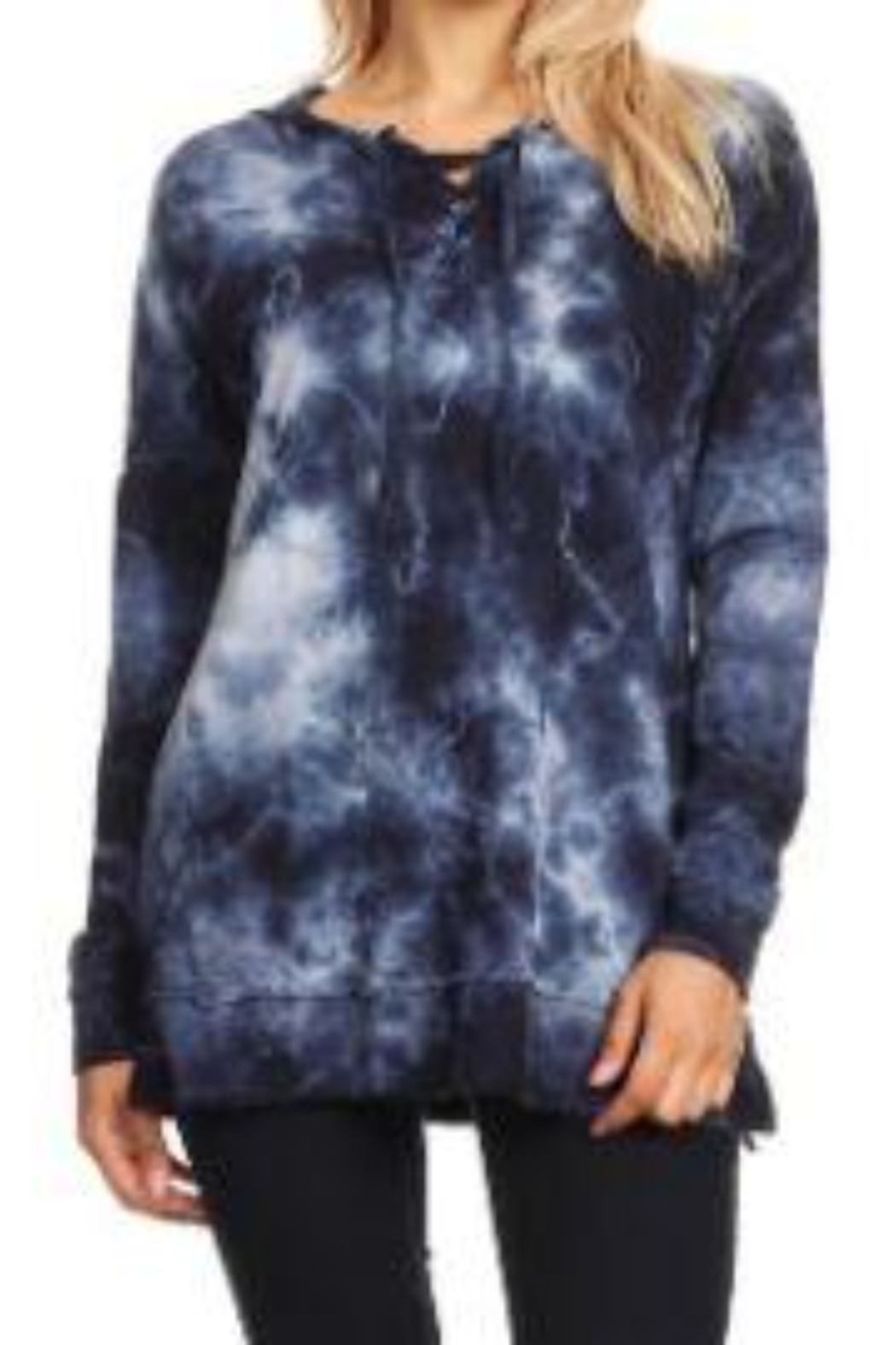 T Party Lightweight Tie-Dyed Lace-up Hoodie Sweatshirt - Front Cropped Image
