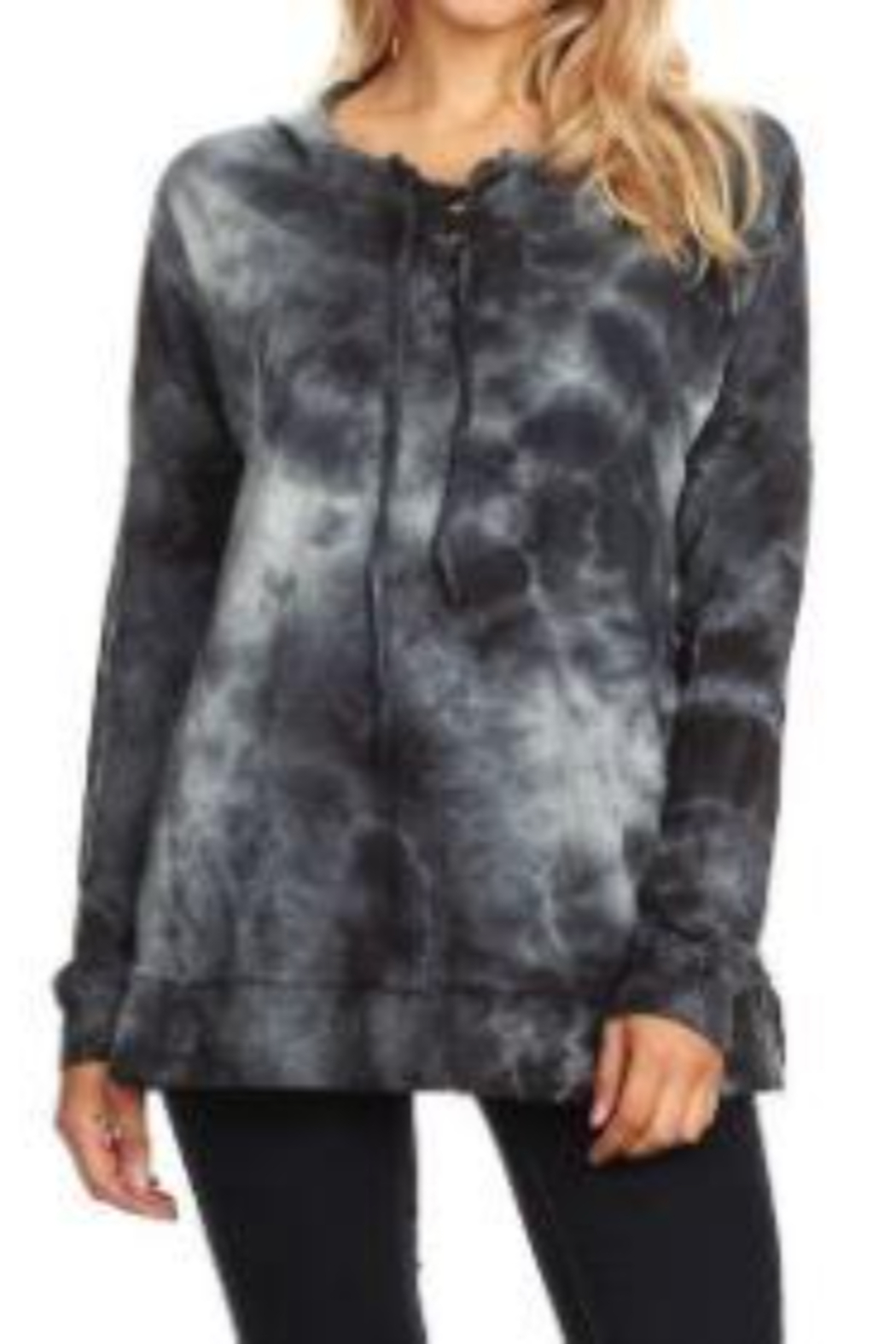 T Party Lightweight Tie-Dyed Lace-up Hoodie Sweatshirt - Main Image