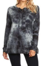 T Party Lightweight Tie-Dyed Lace-up Hoodie Sweatshirt - Product Mini Image