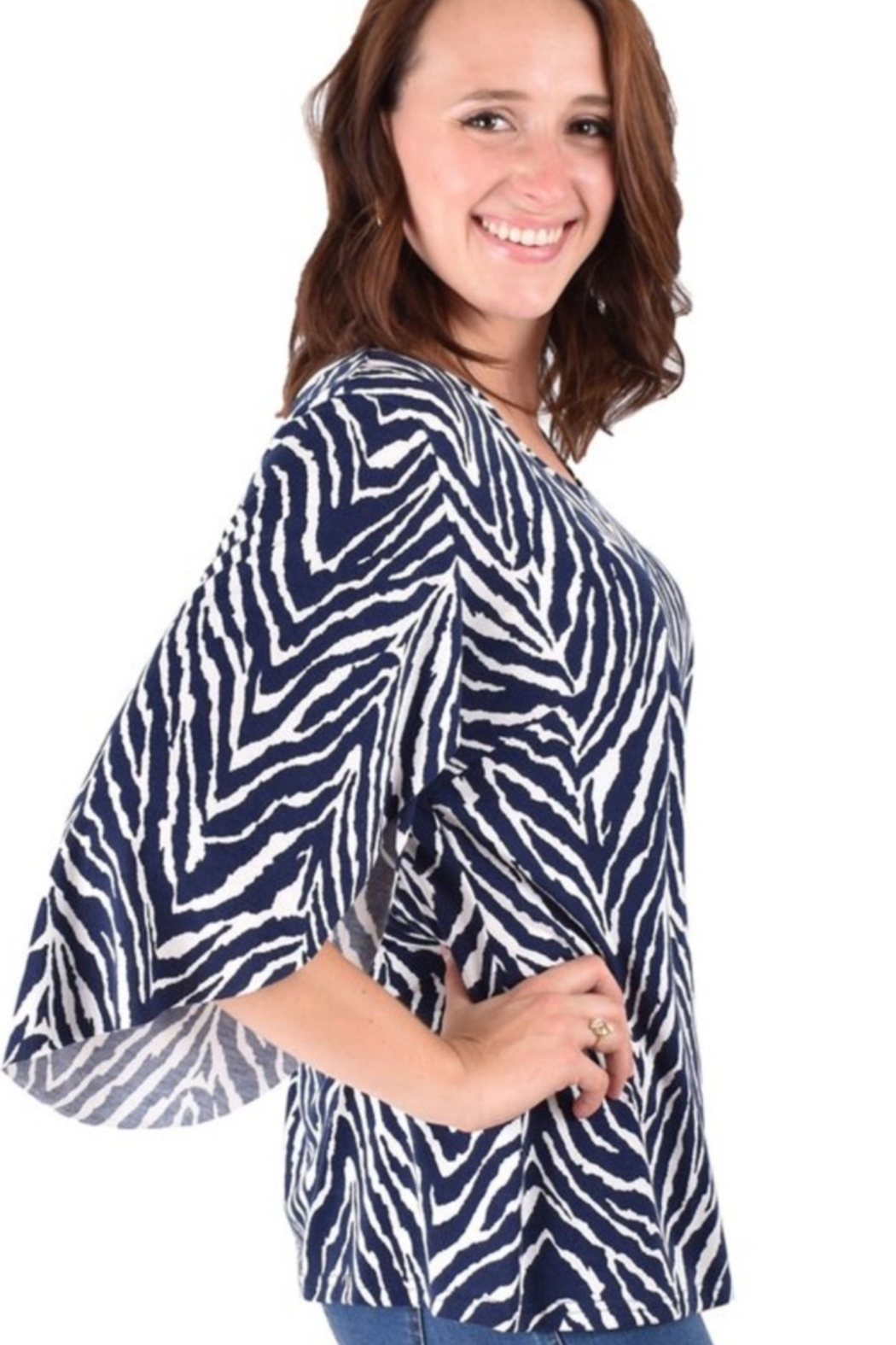 Ethyl Lightweight top with 3/4 sleeve. - Front Full Image