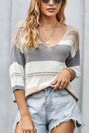 Shewin Lightweight VNeck Color Block Sweater - Product Mini Image
