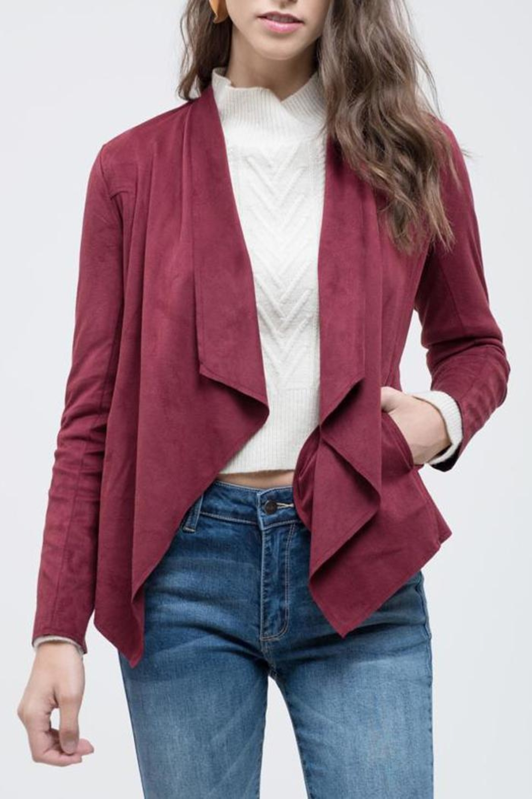 Blu Pepper Like Red-Wine Jacket - Front Cropped Image