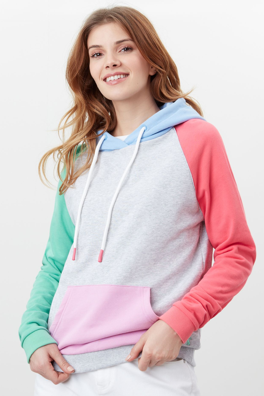 Joules Lil Colorblock Raglan Hooded Sweatshirt - Front Cropped Image