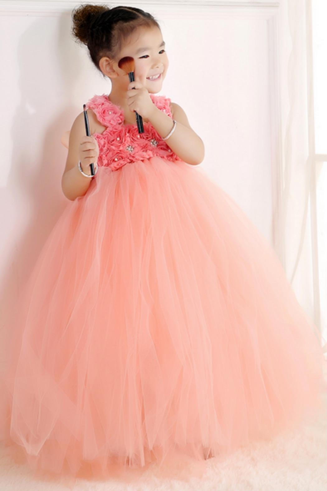 LIL MISS DRESS UP Peach Tutu Dress - Side Cropped Image