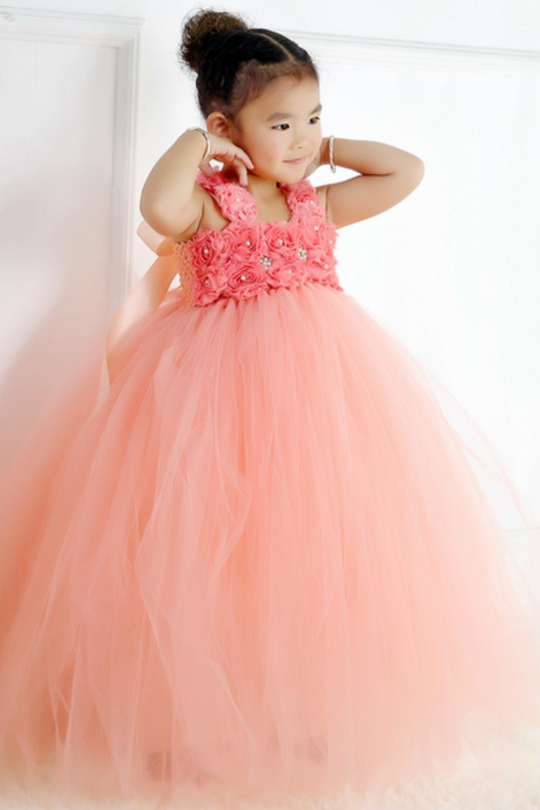LIL MISS DRESS UP Peach Tutu Dress - Front Full Image