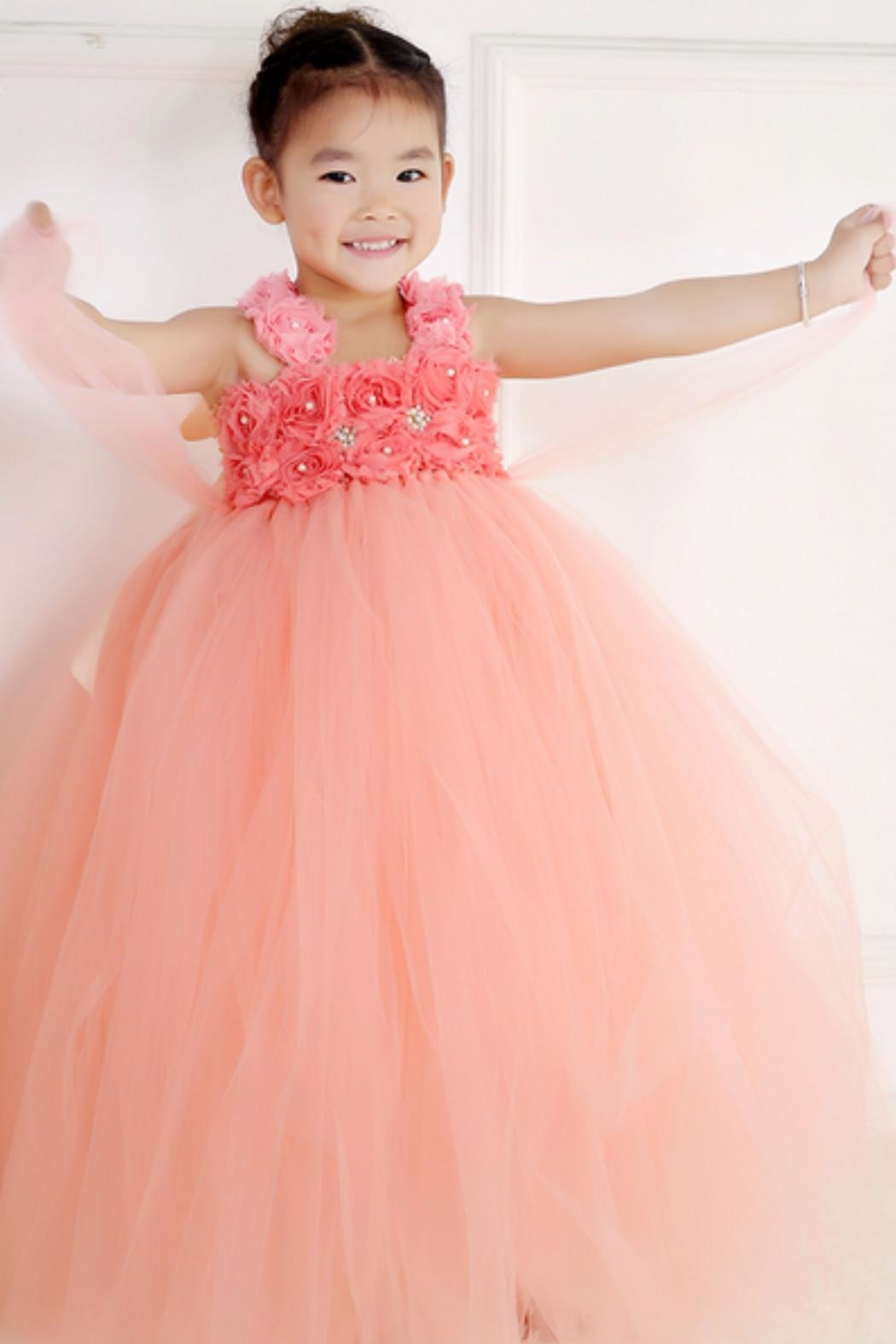 LIL MISS DRESS UP Peach Tutu Dress - Front Cropped Image