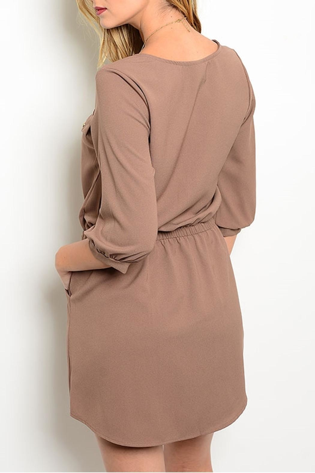 Lila Khaki Pockets Dress - Front Full Image